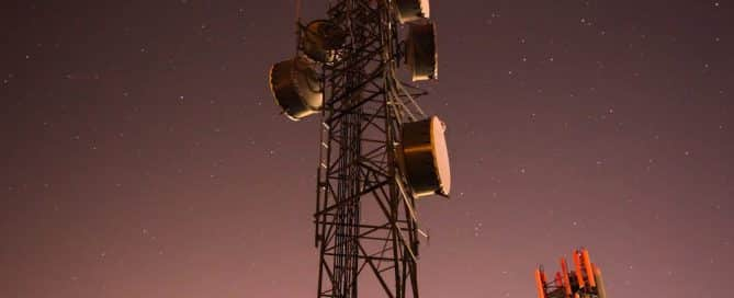 cell tower at night 5G millimeter waves