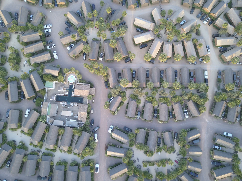 Blocks in a city from above
